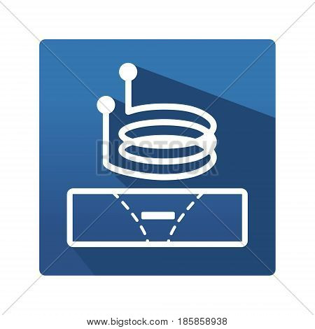Eddy current pictogram. Science and studies flat icon. Industrial icon in trendy flat style on blue background. Eddy current symbol for your web site design, logo, app. Vector illustration, EPS10