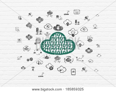 Cloud computing concept: Painted green Cloud With Code icon on White Brick wall background with  Hand Drawn Cloud Technology Icons