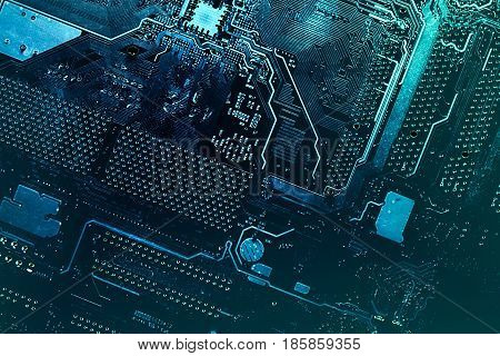 Motherboard digital chip. Circuit board. Electronic computer hardware technology.
