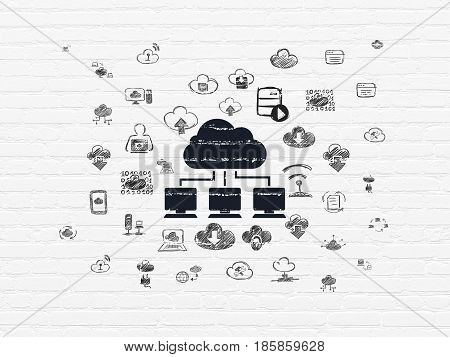 Cloud technology concept: Painted black Cloud Network icon on White Brick wall background with  Hand Drawn Cloud Technology Icons