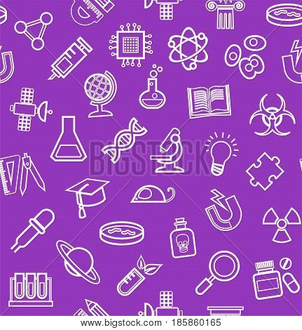 Science, purple background, contour icons, monochrome, seamless, vector. White, line, badges on a purple field. Different types of scientific activities. Vector flat background.