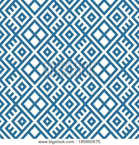 geometric seamless ethnic pattern background in blue and white colors vector illustration
