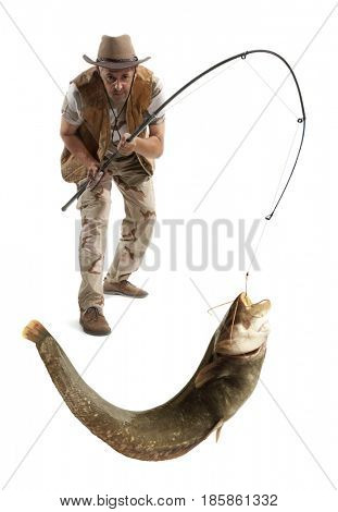 Fisherman with big river catfish isolated on white