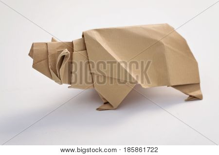 Brown Grizzly bear origami with white background