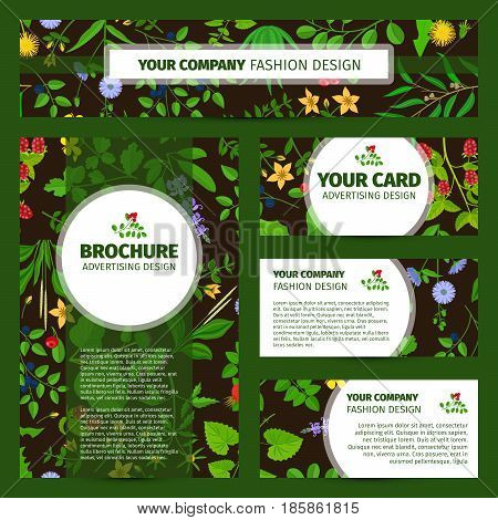 Corporate identity design with wild flowers and herbs pattern, vector illustration