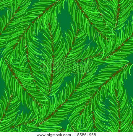 Winter Fir Green Branches Seamless Pattern. Christmas Background