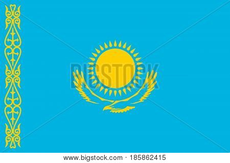 National flag of Kazakhstan Republic. Patriotic kazakhstani sign in official national country colors and proportion correctly. Symbol of Central Asia state. Vector icon illustration