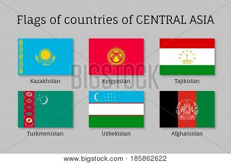 Set of flags of Central Asian countries: Tajikistan and Kazakhstan, Kyrgyzstan, Turkmenistan, Afghanistan and Uzbekistan. Collection with 6 signs of Asian states. Vector isolated icons
