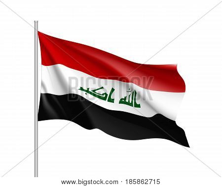 Iraq national flag, patriotic symbol of country, educational and political concept, realistic vector illustration