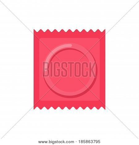 Condom Packed Isolated. Contraceptive On White Background. Sex Protection