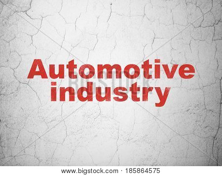 Industry concept: Red Automotive Industry on textured concrete wall background