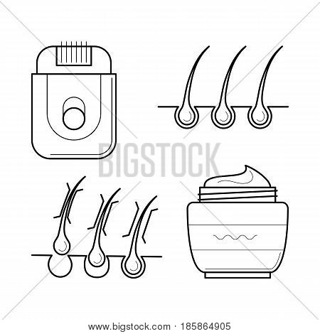 Vector icons set of tools for epilation procedure. Cosmetic equipment: electric shaver and aftershave cream. Hair removing symbols in thin line style. Outline simple illustrations isolated on white