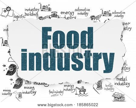 Industry concept: Painted blue text Food Industry on Torn Paper background with  Hand Drawn Industry Icons
