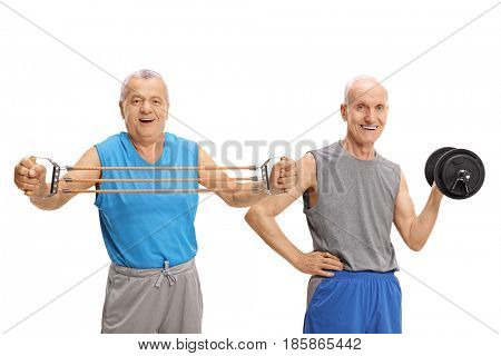 Two mature men exercising with a resistance band and a dumbbell isolated on white background
