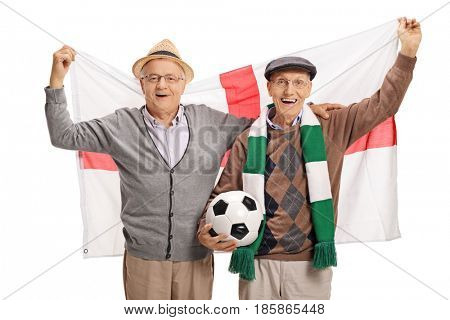 Excited elderly soccer fans with an English flag isolated on white background