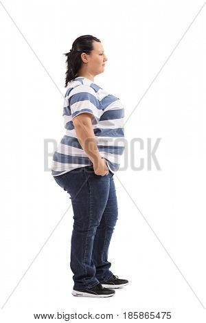 Full length profile shot of an overweight woman waiting in line isolated on white background