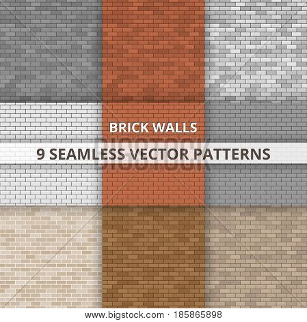 9 Seamless vector patterns. Brick wall paterns Abstract background.