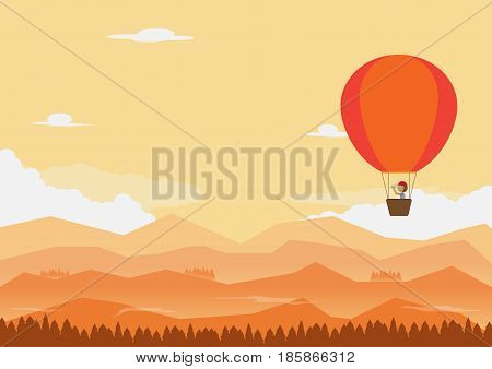flat landscape. evening time one man on balloon he is use field glass looking for direction. vector illustration.