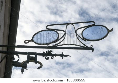 Vintage opticians sign in Ribe in Denmark