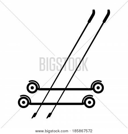 Roller skiing and sticks ( shade picture )