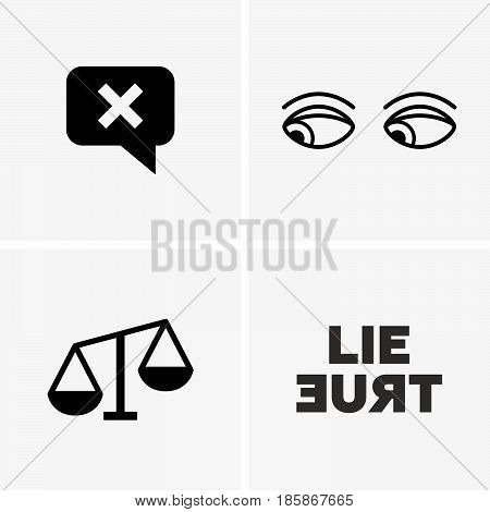 Set of four lie signs: cross, eyes, scales, words