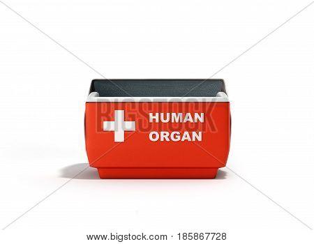 Open Human Organ Refrigerator Box Red 3D Render On White