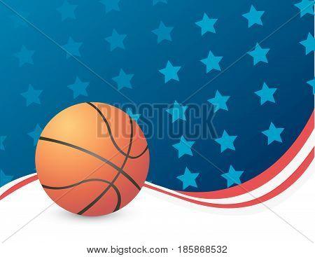 Basketball, vector illustration art with usa flag background