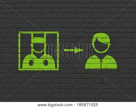 Law concept: Painted green Criminal Freed icon on Black Brick wall background