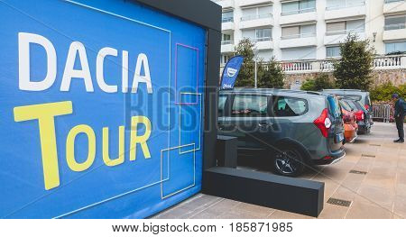 Sables d Olonne France - May 07 2017 : Dacia Tour 2017 is a commercial operation organized by the car builder in order to present its cars throughout France - Close-up on the logo