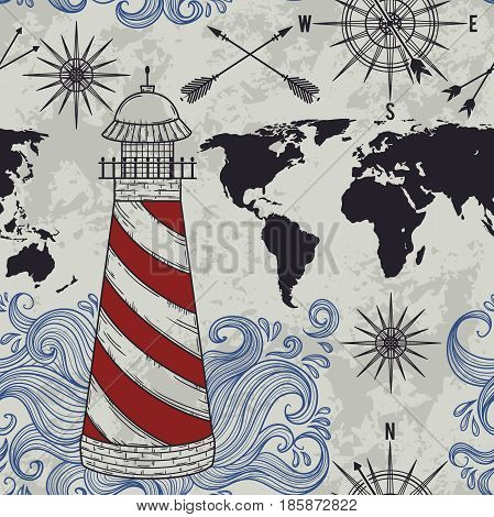 Seamless pattern with lighthouse, waves, compass, world map and wind rose. Vintage hand drawn vector illustration in sketch style