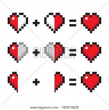 Isolated Vector Illustration Half plus half. Heart and love 8 bit