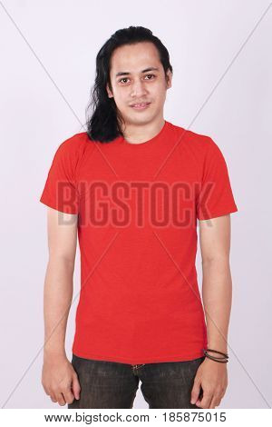 Photo image of an Asian Model smiling and showing blank red T-Shirt front view shirt template