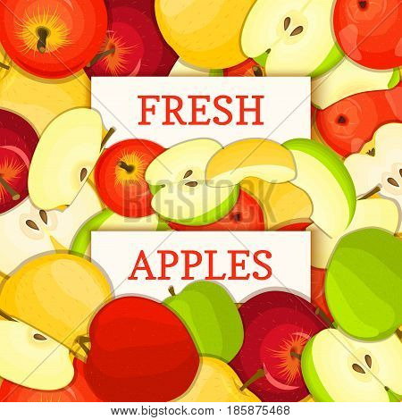 Two white rectangle label on apple fruit background. Vector card illustration. Ripe fresh and juicy appless fruits whole and slice for design of food packaging juice breakfast detox diet, jam