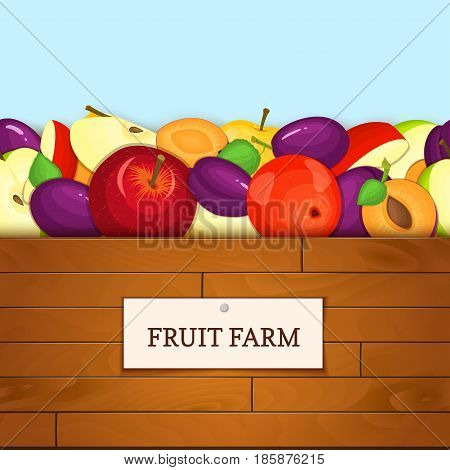 Wooden box with fruits. Vector illustration. Boards wood background, border with apples and plum fruit and label. For the design of packaging, food marmalade, jam, juice, detox diet
