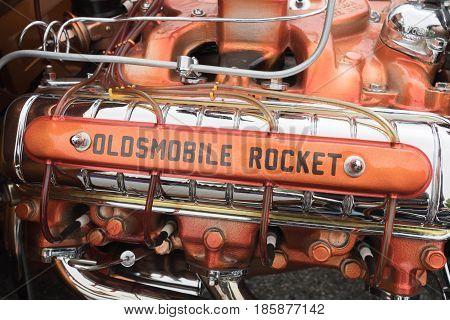Oldsmobile Rocket Engine On Display