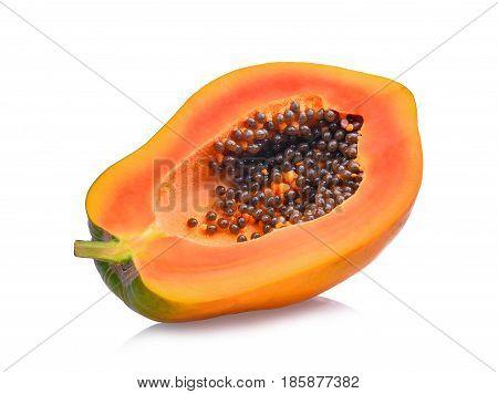 half of fresh papaya isolated on white background