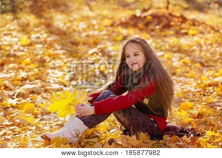 the happy girl with autumn leaves outdoor