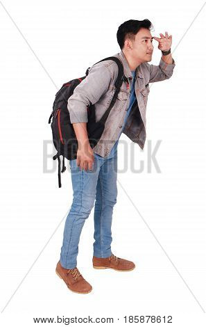 Photo image portrait of a young Asian male student standing and looking forward side view isolated on white