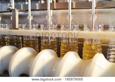 Sunflower oil in the bottle moves along the conveyor line. Production of vegetable refined oil from sunflower seeds
