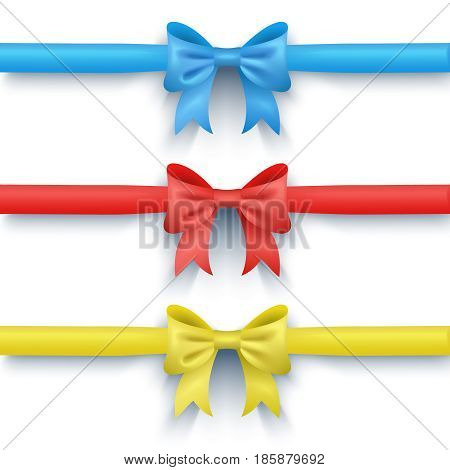 Set of three bows. Multi-colored bows. Holiday decorations. Three bow with ribbon. Blue bow. Red bow. Yellow bow