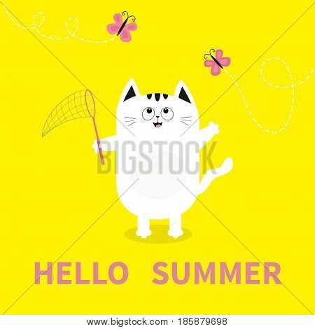 Hello summer. White cat Pink butterfly insect net. Dash line track.. Cute cartoon character. Greeting card. Funny pet animal collection. Flat design. Yellow background. Vector illustration