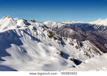 Aibga Ridge. Mountains near the ski resort of Rosa Khutor in Krasnaya Polyana. Sochi Russia