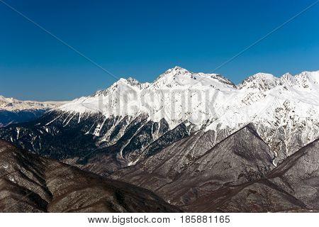 Mountains near the ski resort of Rosa Khutor in Krasnaya Polyana. Sochi Russia