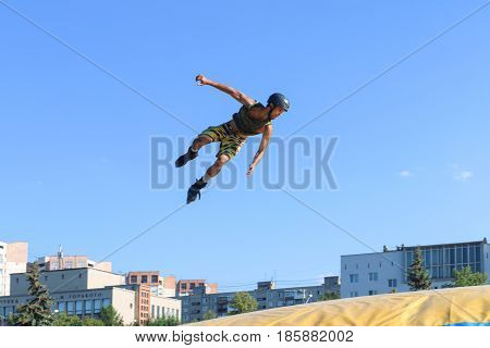 PERM RUSSIA - August 20 2016: Extreme athlete jumps during the event the Championship of Perm Krai jump aeromat