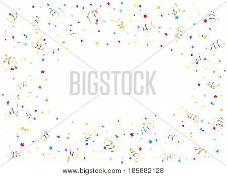 Happy Birthday background with multicolored streamers and confetti, illustration.