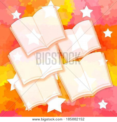 Opened books with blank pages on a bright background with stars
