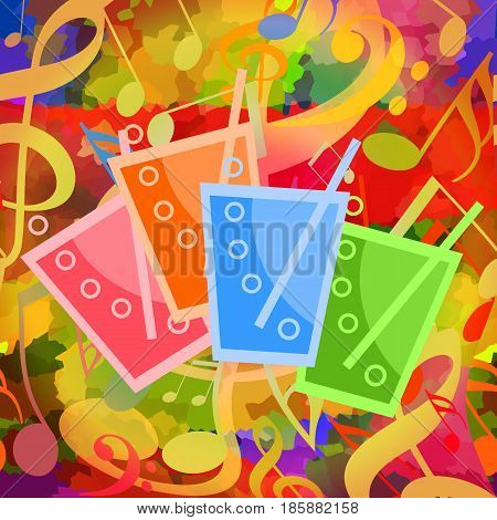 Colorful soda water drinks with bubbles on bright musical background