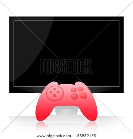 Gamepad and computer monitor or tv screen