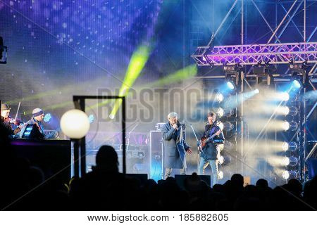 PERM RUSSIA - OCT 13 2016: Singer on stage at outdoor celebrating the 100 anniversary of Perm University. This is public event.