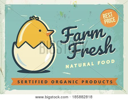Grunge retro metal sign with chicken and egg. Vintage advertising poster. Farm fresh. Old fashioned design